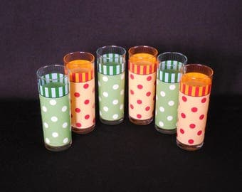 Retro Polka Dot Barware, Tall Tom Collins, Yellow, Red, Green, Blue Dots and Stripes