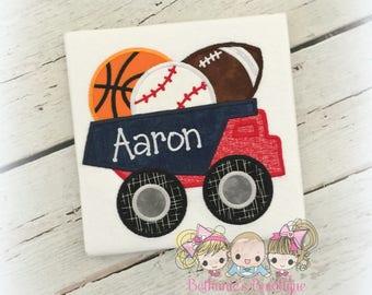 Sports truck shirt - sports balls shirt - truck hauling sports balls - personalized boys sports themed shirt - baseball truck shirt