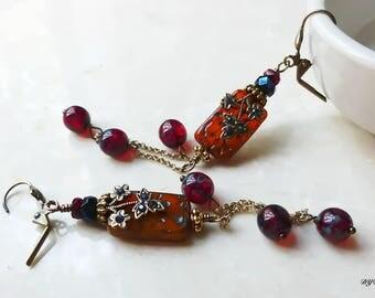 Earrings -  Exotic Red