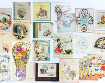 Vintage Greeting Cards Lot of 40 Assorted Vintage Paper Ephemera in Box Birthday Get Well Graduation Congratulations New Baby Vintage Cards