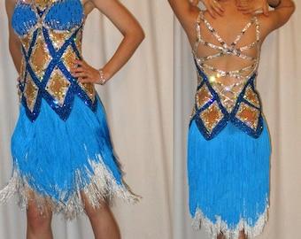 Blue Latin Fringe Dress featuring Geometric Design with Swarovski Crystals