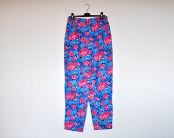 Vintage Oversized Blue and Pink High Waist Floral Print Cotton Cigarette Pants
