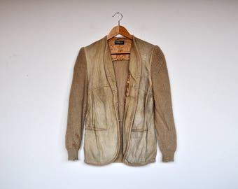 Vintage Tan Suede and Knit Wool Cardigan Jacket
