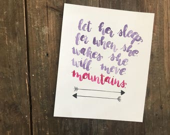 Brushlettered print, 'Let Her Sleep'