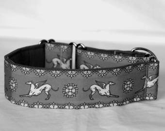 "2"" Martingale Dog Collar Greyhound Angels - White on Gray"
