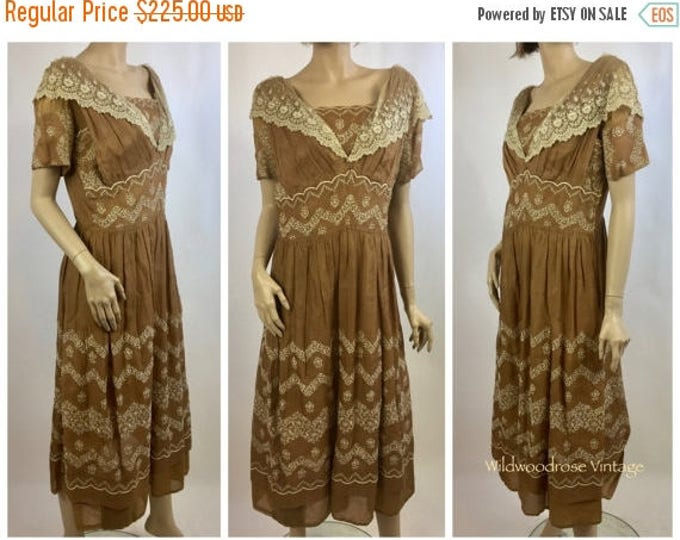 SUMMER SALE Antique Redux Lace Day Dress - Victorian Dress Altered into 1920's Style Dress - Bobbin Lace - Hand Embroidered - Museum Collect