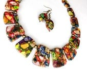 RESERVED for Katrina: multicolor stone collar necklace with optional earrings, July rate