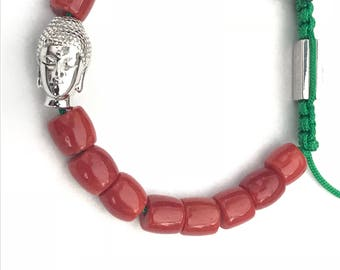 Custom made order only  genuine high quality Italian Red Coral tube 8 mm beacelet made with sterling silver charm, beads