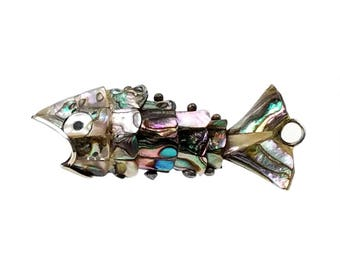 Vintage Articulated Wiggle Fish Bottle Opener Pendant, Key Chain Fob // Abalone, Mother of Pearl, & Silver Carp,  Functional Costume Jewelry
