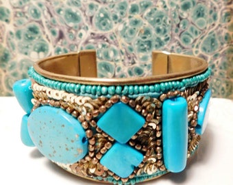 Vintage Turquoise and Brass Cuff Bracelet