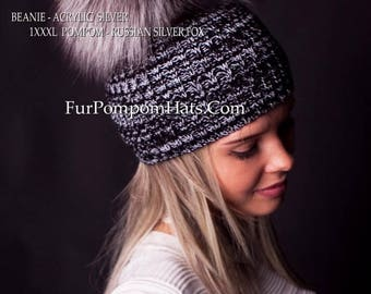 Handmade Beanie Silver with SILVER FOX Fur Pompom Hat Women Winter Knit Arctic Store®