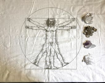 New!! XL VIRTRUVIAN MAN ---  Crystal Grid Cloth   --- 100% cotton, natural textile, sacred geometry grid template, alter cloth