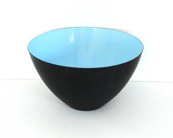 Krenit of Denmark Black and Light Blue Enamel Bowl Designed by Herbert Krenchel