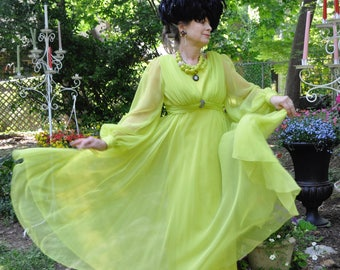 Bold Green Silk Chiffon Gown/Vintage 1960s 1970s/Mike Benet Party Dress/Full Floaty Formal Dress/Rhinestone Brooch/Size Small