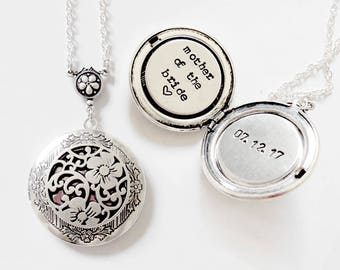 Mother of the Bride gift Custom message locket necklace jewelry Initial/Date Personalized locket initial necklace Anniversary Date Locket