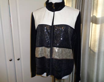 Vintage  Black, White and Gold Sequined Eisenhower Style Jacket, Size P Large in very Good Condition which can be dressed up or dressed down