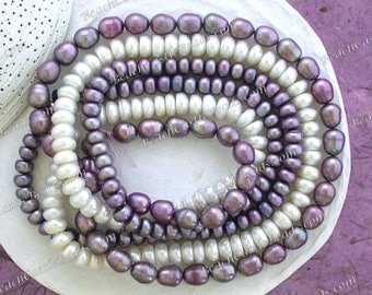 3 Strands Sale Beads, Destash Beads, Mauve Purple Cream White Fresh Water Pearls, Destash Rice Button Shape Fresh Water Pearls  DS-909