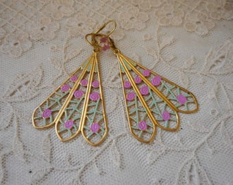 big, flashy fan earrings with pink roses and gold-plated ear wires ... lever back, fabulous for fairies and other legendary beings