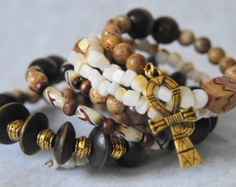 Tribal Inspired Beaded Wire Wrap Bracelet With Ankh