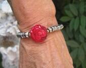 50% OFF SALE - Boho Stacking Carved Coral Flower Stretch Bracelet - Silvered Glass Rondelle Beads, Crystal Rondelles and Coral Bracelet