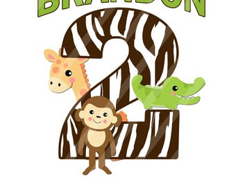 Jungle Animals Brown Zebra Print Birthday Number Printable Digital Download Image for iron-ons, heat transfer, DIY YOU PRINT