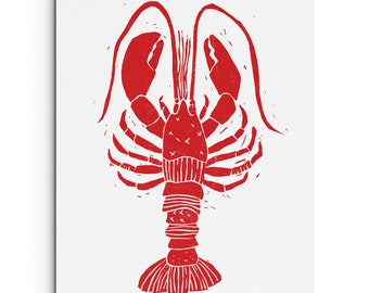 Lobster with Patterns Illustration - Nautical - Linocut Block Print - Digitally Printed - Red, Black, Deep Blue