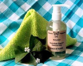 Clover Castile Liquid Soap, Clover Soap, Liquid Castile Soap, Liquid Soap, Certified Organic Soap, Liquid Hand Soap, Liquid Shower Soap
