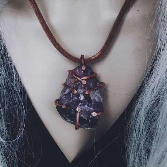 Raw crystal necklace   raw amethyst, large rough amethyst, raw stone necklace, rough crystal, purple stone necklace, gypsy boho necklace