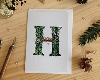 Forest Letter H Card - Initial Card