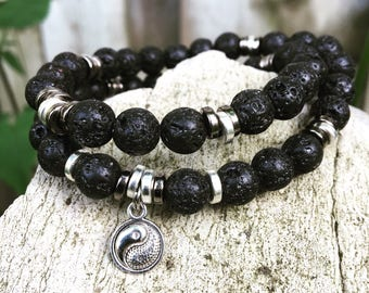 Double wrap yoga meditation mala bracelet with black lavastone and silver accent beads and yinyang charm for men or women