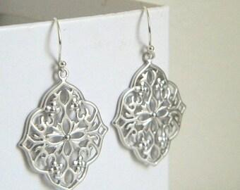 SALE Silver Moroccan Filigree Earrings