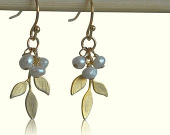 Gold Leaf  Freshwater Pearl Earrings