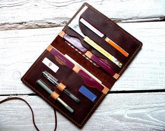 Large leather passport wallet, family passport wallet, travel wallet, passport case, family passport holder