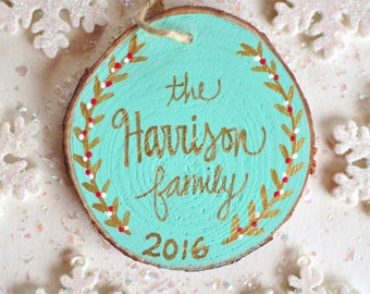 Family Christmas Ornament, Last Name Ornament, Custom Ornaments, Personalized Ornament, Married Couple Ornament, Gift for Wife, Gift for Mom