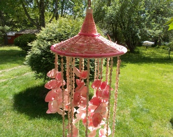 Very Large Hanging SEASHELL WIND CHIME  Mobile Lots of Pink  Porch Patio Garden or Indoors Home Decor Hanging Beach Art