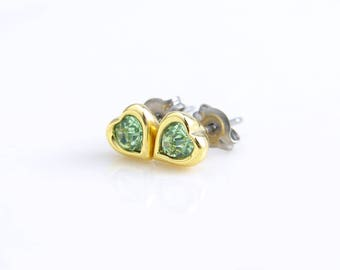 August Birthday. Teeny Tiny Peridot Green Earrings. Swarovski Peridot Heart Stud Earrings. Bridesmaid Earrings. Titanium Post Earrings