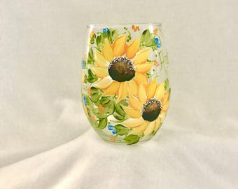 Sunflower hand painted stemless wine glass for grammy mom mema sister friend aunt or just plain beautiful free shipping