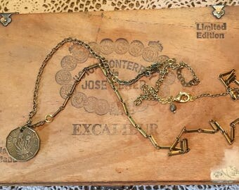 1941 King George  British threepence necklace on pieced vinage chain