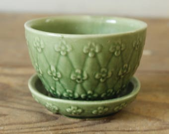 Vintage Antique Green Shawnee Flower Pot Planter Quilted Daisy Pattern #452