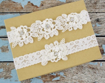 Wedding Garter Set, Ivory Embroidery Lace with Rhinestone Garter Set, White Lace Wedding Garter Belt, Bridal Garter