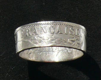 Ladies Silver Coin Ring 1894 France 1 Franc, Ring Size 6 1/2 and Double Sided