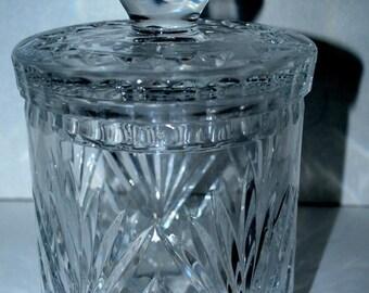weekend sale cut glass jar with lid  hand cut glass  heavy glass  cookie  jar glass  vintage glass humidor