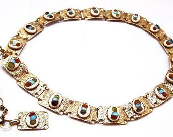 "Concho Belt Necklace Red Blue Glass Beads Etched Gold Metal South Western 34"" Vintage"