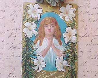 Charming Edwardian Era Easter Postcard-Girl Praying