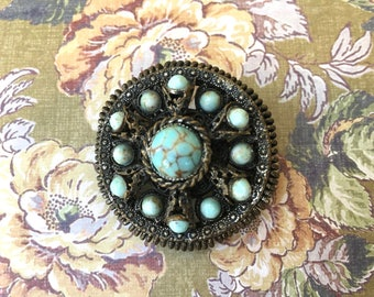 """Pretty Bohemian Look Vintage Brooch with Turquoise Colored """"Stones"""""""