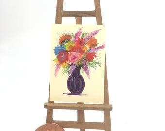 Flower Vase Painting Still Life Original Art Flower Painting Miniature Dolls House Art Picture Dollhouse