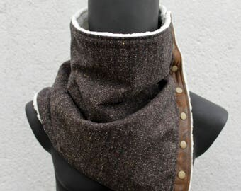 Men's scarf.Womens cowl,Unisex neckwarmer,Flecked dark brown cotton blend,faux leather & lamb fur,Vegan,8 snaps,Modern,cozy.Husband gift.