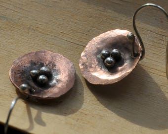 Sterling silver and copper hammered hand forged earrings