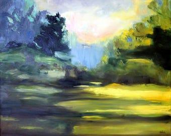"""Original Oil Painting: Loose Modern Landscape """"Sunlit Glade"""""""