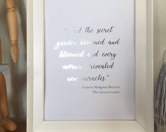 The Secret Garden Quote Foil Print